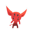 funny little devil showing his horns cartoon vector image