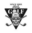 golf vintage emblem with skull in hat vector image vector image