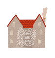 gray brick house with lettering text on facade vector image