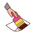 hand holding paint brush artistic tool vector image vector image