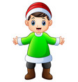happy boy in green santa claus costume with xmas r vector image vector image