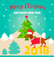 holiday dachshund and winter scene vector image vector image