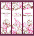 ice cream cafe sketch banners set vector image vector image