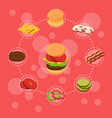 isometric burger ingredients infographic vector image vector image