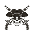 Jolly Roger skull in cocked hat Evil vector image