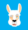 lama alpaca winking face avatar animal happy emoji vector image vector image