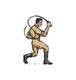 Lion Tamer Bullwhip Isolated Drawing vector image vector image
