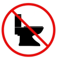 No toilet icon in red circle on white background vector image vector image