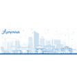 outline amman jordan skyline with blue buildings