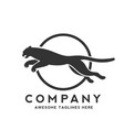 panther jump logo vector image vector image