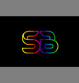 rainbow color colored colorful alphabet letter sb vector image vector image