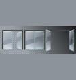 realistic glass door entrance modern glass doors vector image vector image