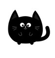 round shape black cat icon cute funny cartoon vector image vector image