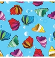 seamless background with sea shells vector image
