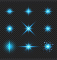set elements glowing blue light burst rays vector image
