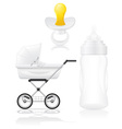 set icons perambulator bottle and pacifier vector image vector image