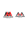 set initial letter mm logo template design vector image