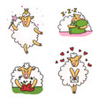 set of funny sheep with different emotions vector image vector image