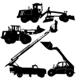 Set of silhouettes construction machinery vector image vector image