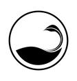 Simple swan logo in a circle vector image vector image
