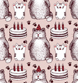 Sketch Birthday pattern vector image vector image