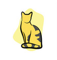 striped cat sitting vector image vector image