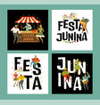 tent festa junina brazilian apple candy june vector image vector image