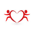 valentine s day heart couple people icon vector image vector image