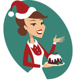 Woman holding Christmas pud vector image vector image