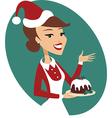 Woman holding Christmas pud vector image