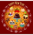 Card with treats and greetings for the new year vector image