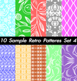 10 Retro Patterns Textures Set 4 vector image vector image