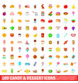 100 candy and dessert icons set cartoon style vector image