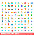100 investment icons set cartoon style vector image vector image