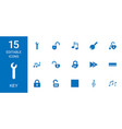 15 key icons vector image vector image