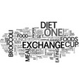 benefits of the exchange diet text word cloud vector image vector image
