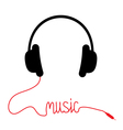 Black headphones with red cord word Music vector image