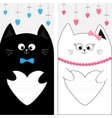 black white cat kitty family couple holding heart vector image vector image