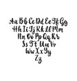 calligraphic straight font letters on white vector image vector image