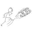 cartoon angry man kicking out job text vector image vector image