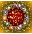 Christmas happy new year 2017 gold wreath gold vector image vector image