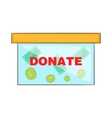 Coins in donate box icon cartoon style vector image vector image