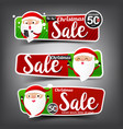 collection of christmas sale red and green web vector image vector image