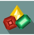 Colored gemstones flat icon vector image