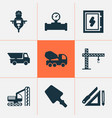 construction icons set with electrical board pipe vector image vector image