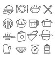 cooking line icons set on white background vector image vector image