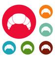 croissant icons circle set vector image