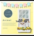 Cute animal family background with Cats 4 vector image vector image