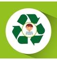 cute boy eco recycle icon vector image vector image