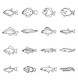 Cute fish icons set outline style vector image vector image